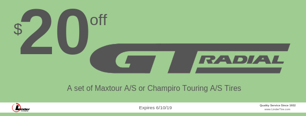 $20 off GT Radial Maxtour A/S or Champiro Touring A/S