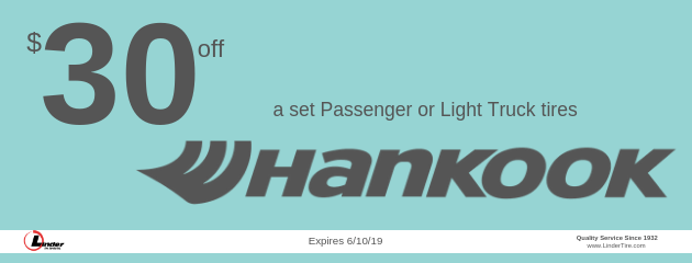$30 off Hankook