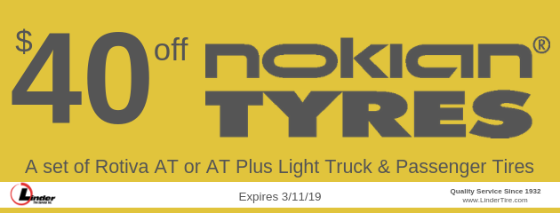 $40 off Nokian Rotiva AT or AT Plus