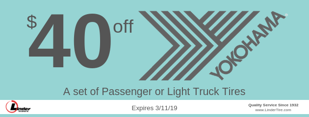 $40 off Yokohama Passenger or Light Truck